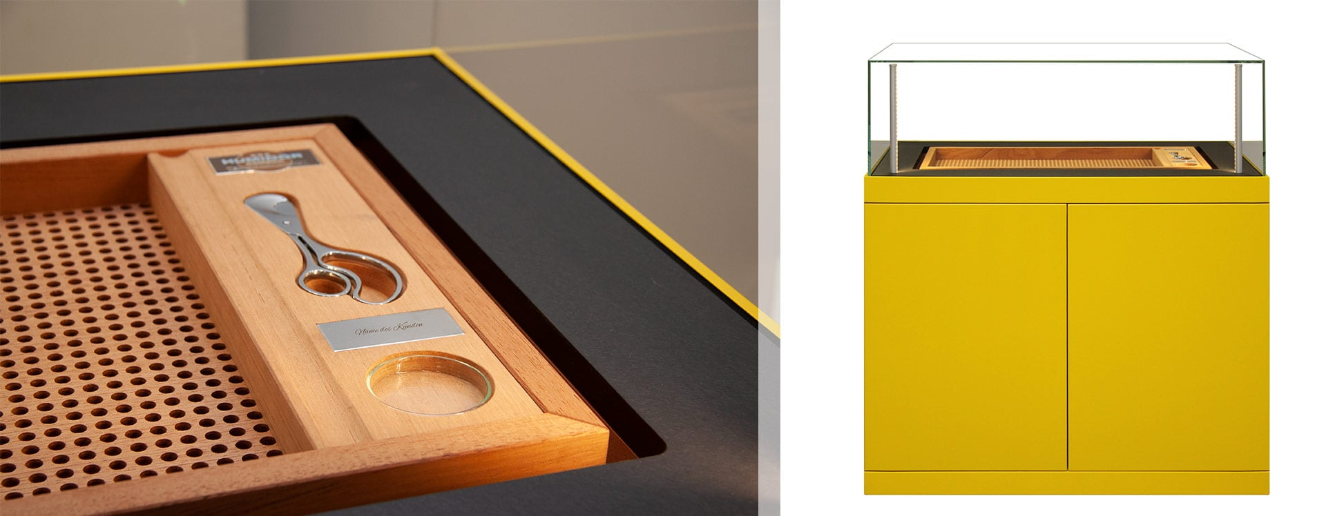 Zigarrenschrank Ascension von Gerber in gelber Außenhülle